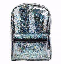 Rugzak: Glitter - transparant/zwart
