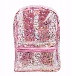 Rugzak: Glitter - transparant/roze