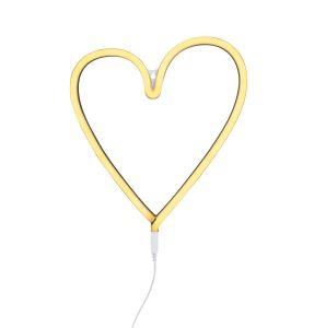 neon style light heart yellow on