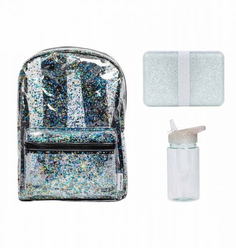 School set: Rugzak - Glitter zilver