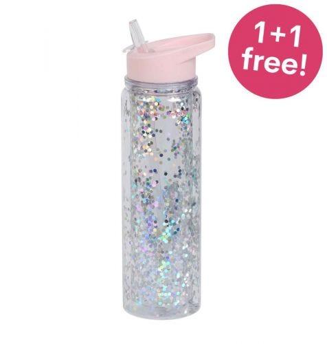 Drinkfles XL: Glitter – roze/zilver