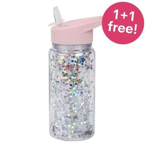 Drinkfles: Glitter - roze/zilver