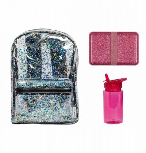School set: Rugzak - Glitter roze