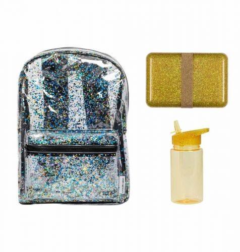 School set: Rugzak - Glitter goud