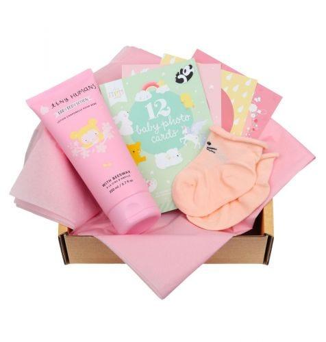 Baby giftbox met Tiny Humans Baby Bodylotion, 12 dubbelzijdige Baby Photo Cards, babysokjes (0-3 maanden)