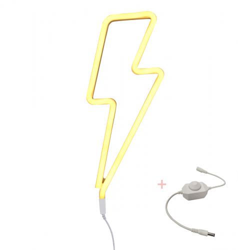 Neon stijl lamp: Bliksem - geel + dimmer