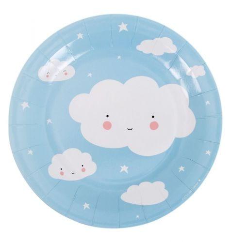 blauwe papieren bordjes wolk